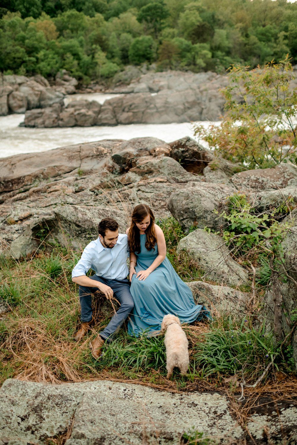 Great Falls Adventure Engagement with dog