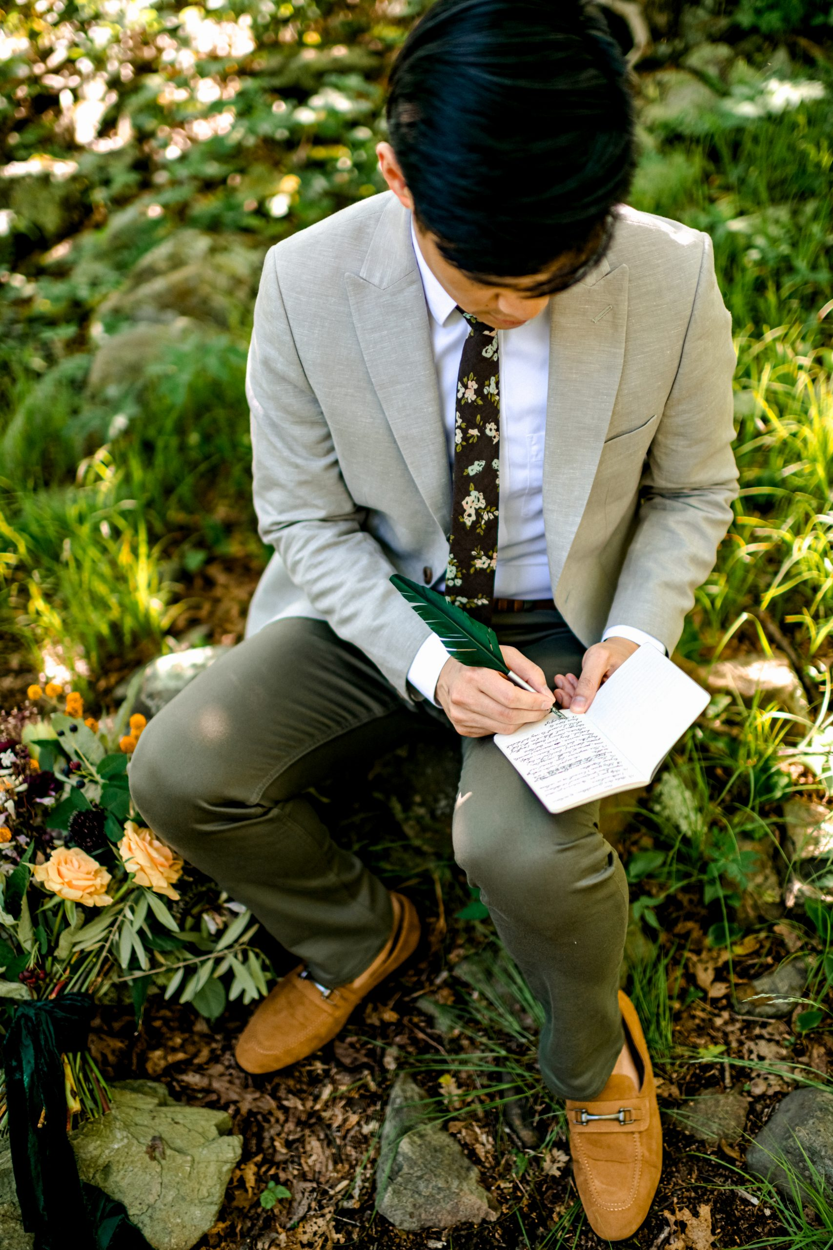 Groom Writing Elopement Vows In Shenandoah
